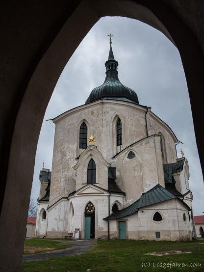 Wallfahrtskirche des hl. Johannes von Nepomuk auf Zelená Hora nördlich von Žďár nad Sázavou