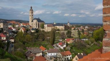 Blick über Kutná Hora zur Kirche St. Jakob - höchster Kirchturm Böhmens