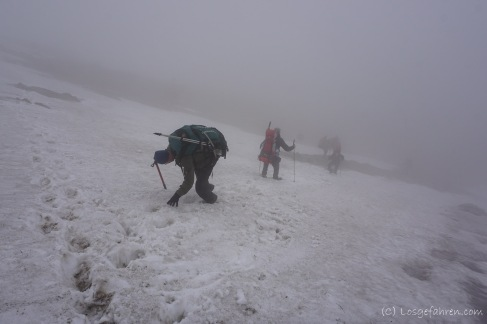 Abstieg vom Negoiu in Nebelsuppe und gezwungenermaßen abseits des normalen Weges. Lars (Bildmitte) setzt sich hier nicht nur einmal auf den Arsch. (Foto: Holger Lieberenz)