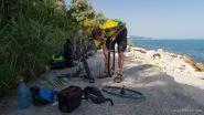 Zu allem Überfluss hat Aileen auch noch ihren ersten Platten. Immerhin erst nach 3825 km -Schwarzmeerküste, Bulgarien
