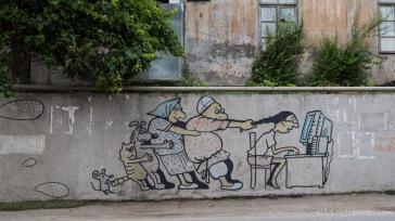Streetart über den rasanten Fortschritt auf dem Weg nach Mirveti/ Khulo