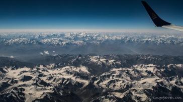 Blick aus dem Flieger auf Tien Shan und Pamir