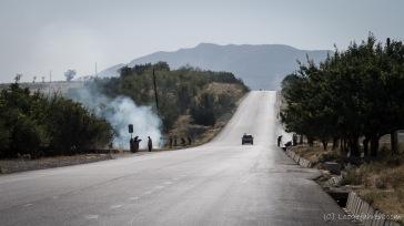Müllverbrennung am Straßenrand