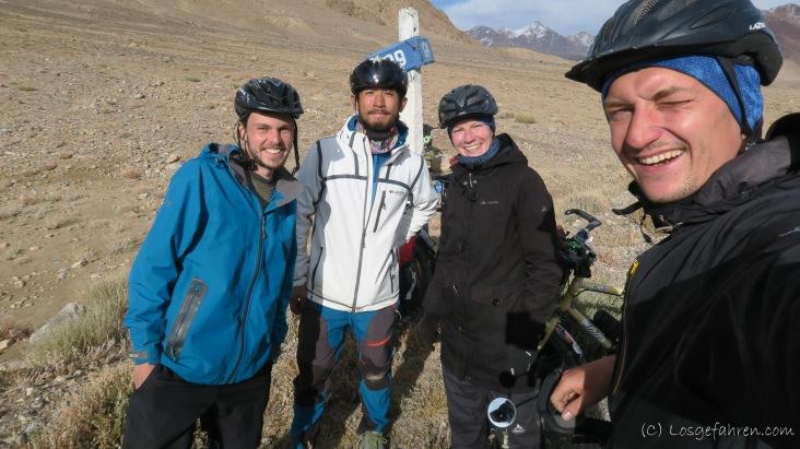 Begegnung mit Nick aus Neuseeland und Dan aus Hongkong auf dem Weg nach Murghab