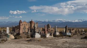 Friedhof. Hier gibt es keine Grabsteine. Verstorbenen wird stattdessen gleich eine ganze Moschee im Kleinformat errichtet.